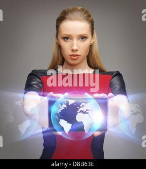 futuristische Frau mit TabletPC - Stockfoto