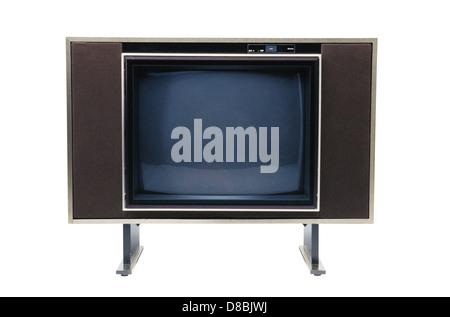Alte Fernseher isoliert auf weiß - Stockfoto