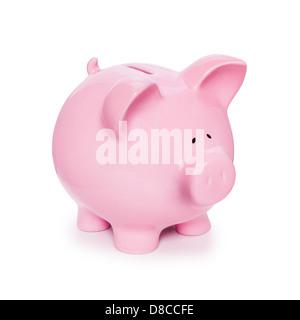 Sparschwein, isoliert auf weiss mit weichen natürlichen Schatten, drei Viertel auf Kamera. - Stockfoto