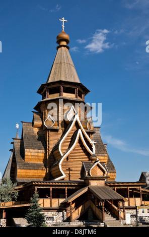 Hölzerne Kirche des Heiligen Nikolaus in Izmaylovo Moskau - Stockfoto