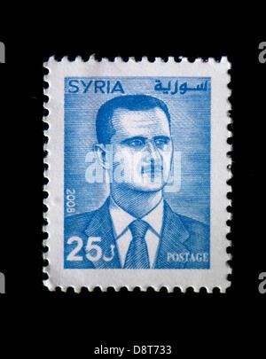 Illustration - syrischen Präsidenten Baschar al-Assad, ist auf einen syrischen Stempel in Dresden, Deutschland, - Stockfoto