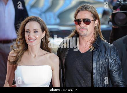 Berlin, Deutschland. 4. Juni 2013. Die Hollywood-Schauspieler Angelina Jolie und Brad Pitt besucht die Premiere - Stockfoto