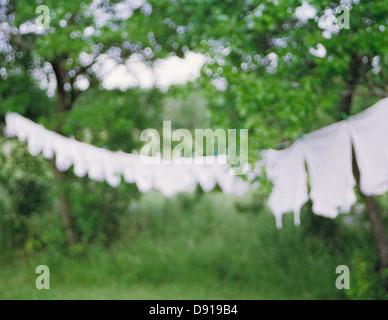 Weiße Wäsche trocknen in der Sonne, Schweden. - Stockfoto