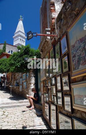 Bilder zum Verkauf an die Grisia, einem berühmten Kunst Straße in Rovinj, Istrien, Kroatien - Stockfoto