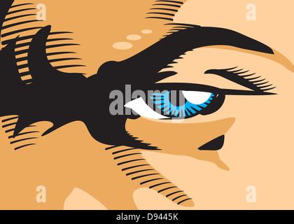 Mann mit wütenden Blick und Stirnrunzeln. Illustration im Comic-Stil eines Mannes Auge in der Nahaufnahme.