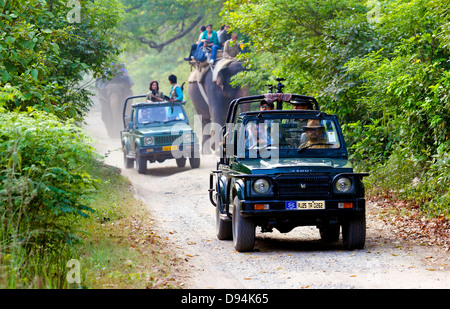 Menschen sind Tierbeobachtungen in Jim Corbett Nationalpark, Indien - Stockfoto