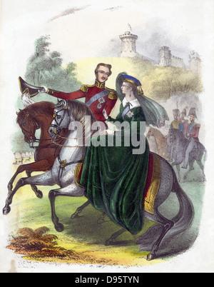 Königin Victoria (1819-1901) und Prinz Albert im Windsor Park, wenn junge Reiten. Handkolorierten Lithographie. - Stockfoto