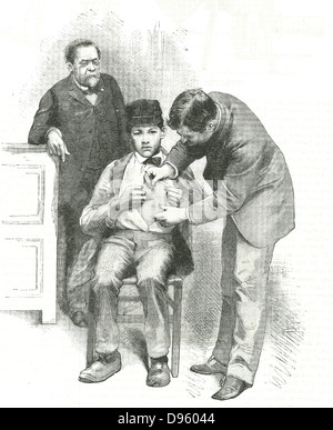 Französischer Chemiker Louis Pasteur (1822-1895), inoculates als seine Assistentin auf Joseph Meister, ein Hirtenjunge - Stockfoto