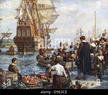 """Die Pilgerväter Internat der """"Mayflower"""" für ihre Reise nach Amerika.  Nach Gemälde von Bernard Gribble. - Stockfoto"""