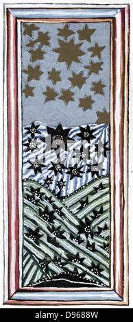 Hildegard von Bingen (1098-1179) Deutsche Äbtissin und Mystiker. Ihre Vision von der Fall der Engel, von einigen - Stockfoto