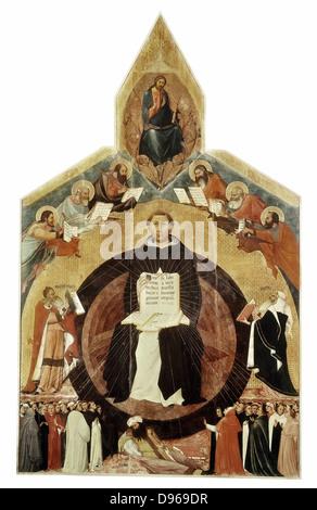 """Der hl. Thomas von Aquin (1225-1274) auch als """"Doctor Angelicus, Mitglied des Dominikanerordens bekannt. Italienischer - Stockfoto"""