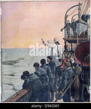 Der Verlust der SS Titanic, 14. April 1912: Gebete am Ort der Katastrophe. Die White Star Line verchartert Kabelverlegung - Stockfoto