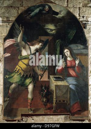 Wenzel Cobergher (1560-1634). Flämischer Maler. Die Verkündigung, 1590. Kirche des Heiligen Franziskus. Ariano Irpino. - Stockfoto