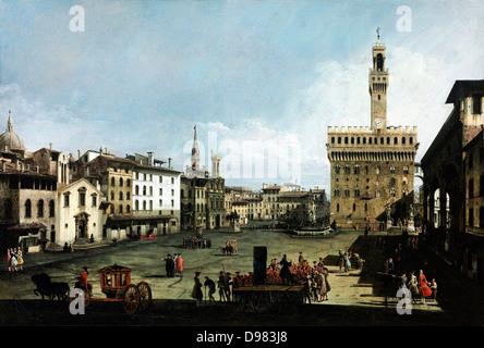 Bernardo Bellotto, genannt Canaletto, der Piazza della Signoria in Florenz 1742 Öl auf Leinwand. Museum of Fine - Stockfoto