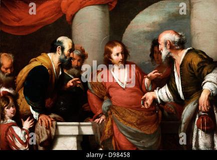 Bernardo Strozzi, die Tribut-Geld. 1630er Jahren Öl auf Leinwand. Museum of Fine Arts, Budapest. - Stockfoto