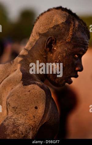 Senegalesische traditionellen Ringkampf, Dionewar Senegal, Afrika - Stockfoto