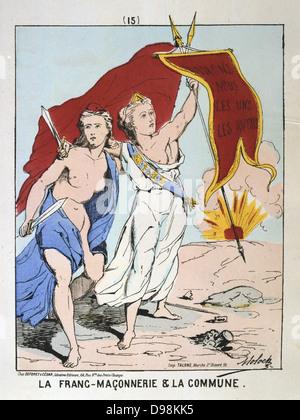 Paris Kommune 26 März-28. Mai 1871. Allegorie der Freimaurerei und der Paris Kommune. Frankreich-Rebellion-Revolution - Stockfoto