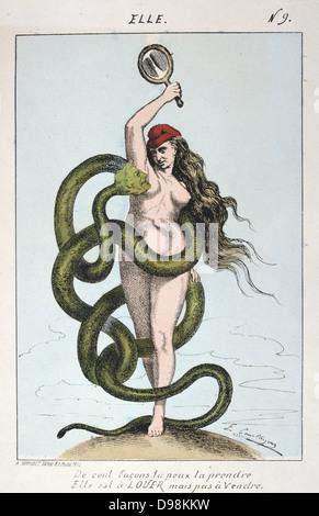 Pariser Kommune 26 März-28 Mai 1871. Louis Adolphe Thiers wie die Schlange verlockende Freiheit und der Gemeinde - Stockfoto