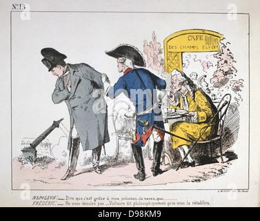 Pariser Kommune 26 März-28 Mai 1871. Napoleon I., Friedrich der Große und Voltaire nach unten schauen aus den Elysischen - Stockfoto