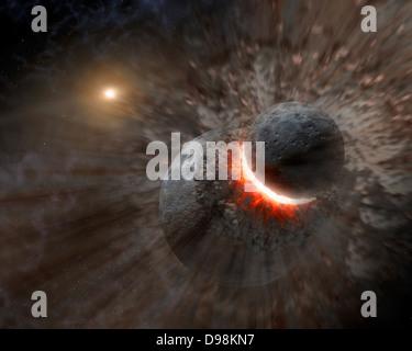 Künstler Konzept eine massive Kollision von Objekten vielleicht so groß wie der Planet Pluto zusammen schmetterte - Stockfoto