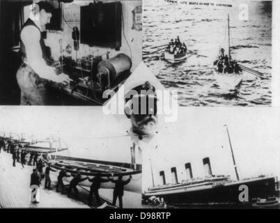 Verlust der RMS Titanic, die am 12. April 1912 einen Eisberg getroffen. Funker auf SS Carpathia Notruf empfangen: - Stockfoto
