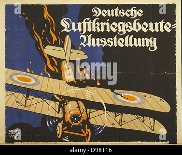 Der erste Weltkrieg 1914-1918: Demonstration der Deutschen Luftwaffe Wirksamkeit. 1918 Die deutsche Propaganda Poster - Stockfoto