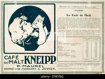"""Werbung für einen koffeinfreien Gemälzt trinken. Von der französischen Zeitschrift """"Le Flambeau"""", 18. September - Stockfoto"""
