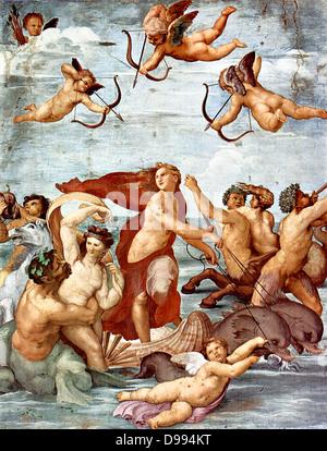 Triumph der Galatea 1511 von Raphael Sanzio da Urbino (6. April oder März 28, 1483 - April 6, 1520), italienischer - Stockfoto