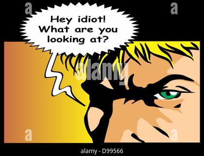 Blase Rede mit Text Idioten geschrieben. Ausdruck des Trotzes und Wut. Comic-Stil Illustration ein verärgerter Mann schreien.