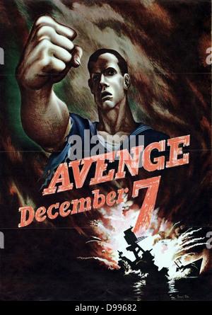 7. Dezember American Plakat nach Pearl Harbour Angriff durch Japan 1941 Sammlung zu rächen - Stockfoto