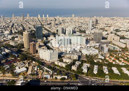 Eine Luftaufnahme von Tel Aviv citycenter