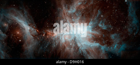 Eine Kolonie der heißen jungen Sterne im Orion-Nebel. Stockfoto