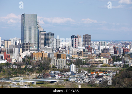 Blick auf Sendai Stadt von oben Berg Aoba Schloss Sendai - Stockfoto