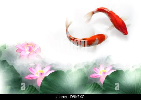 Digitalen Verbund von Goldfisch und lotus - Stockfoto