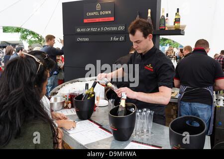 London, UK. 22. Juni 2013.  Geschmack von London 2013 Besucher probieren Kapelle hinunter Wein. Die Veranstaltung - Stockfoto