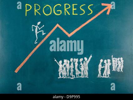 Fortschritt-Konzept auf Tafel - Stockfoto