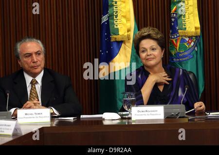 Brasilia, Brasilien, 24. Juni 2013. Brasiliens Präsidentin Dilma Rousseff und Brazil_s Vizepräsident Michel Temer - Stockfoto