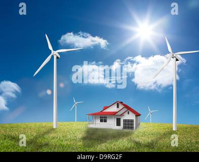 Haus mitten in einem Feld der turbine - Stockfoto