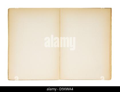 Offene alte leeres Buch isoliert auf weiss - Stockfoto