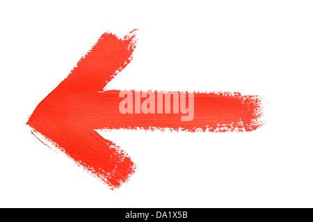 handgemalt mit leuchtend roter Ölfarbe - Stockfoto