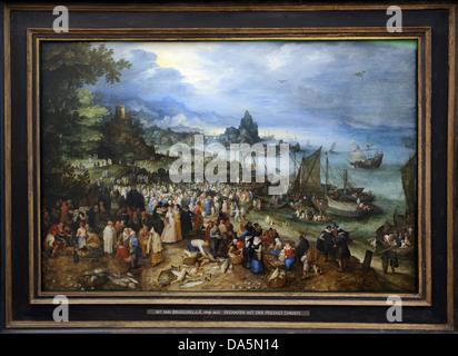 Jan Brueghel dem älteren (1568-1625). Flämischer Maler, Hafen-Szene mit Christus predigen, 1598. - Stockfoto