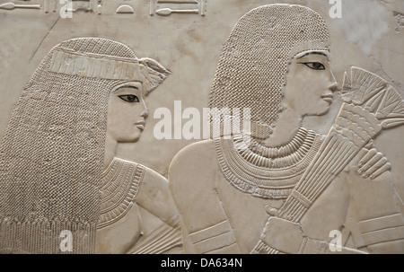 Porträt von schönen jungen Ehepaar im Grab des Ramose in der alten ägyptischen Nekropole des Adels in Theben in - Stockfoto