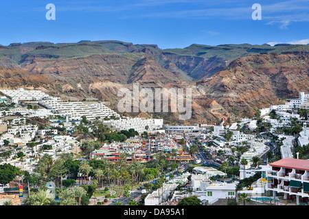Spanien, Europa, Kanarische Inseln, Gran Canaria, Puerto Rico, Architektur, Stadt, Insel, Modern, Morgen, Skyline, - Stockfoto