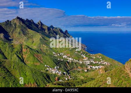 Spanien, Europa, Kanarische Inseln, Taganana, Insel Teneriffa, Teneriffa, Teneriffa, blau, Felsen, Küste, Kurve, - Stockfoto
