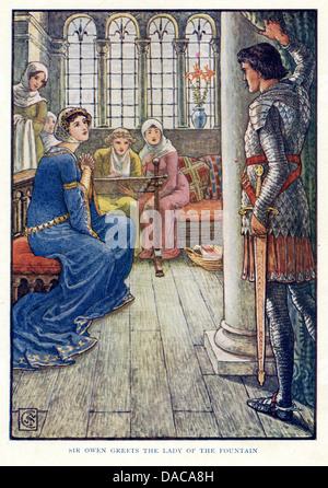 Sir Owen grüßt die Dame des Brunnens, König Arthurs Ritter, Walter Crane - Stockfoto