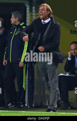 Dortmunder Head, die Coach Jürgen Klopp während der Fußball-UEFA Champions League Gruppe F reagiert, match zwischen - Stockfoto