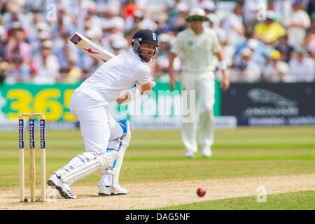 Nottingham, UK. 12. Juli 2013. Englands Matt Prior tagsüber Spiel drei der ersten Investec Asche Test bei Trent - Stockfoto