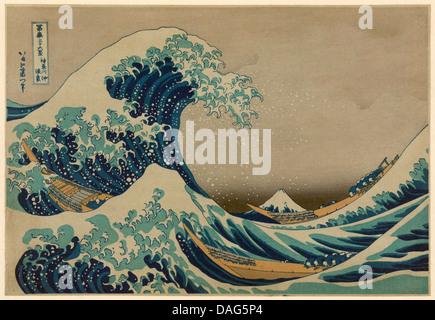 Die große Welle vor Kanagawa, Katsushika Hokusai 1760-1849. Antik-print - Stockfoto