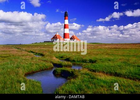 Leuchtturm Westerheversand auf Terp, Deutschland, Schleswig-Holstein, Westerheversand - Stockfoto