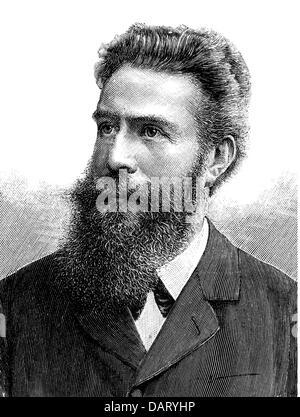 Roentgen, Wilhelm Conrad, 27.3.218 - 10.2.1923, deutscher Wissenschaftler (Physiker), Porträt, Holzgravur, 19. Jahrhundert, - Stockfoto